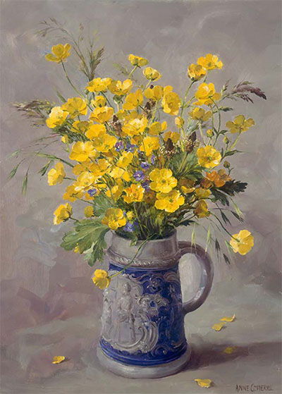 Buttercups - wild flower blank greetings card by Anne Cotterill