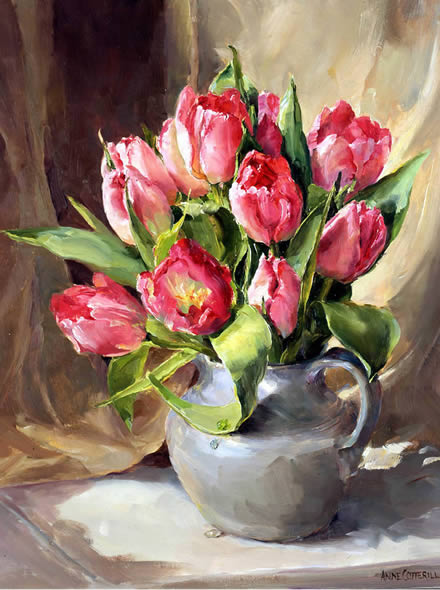 Pink Tulips - Birthday Card by Anne Cotterill