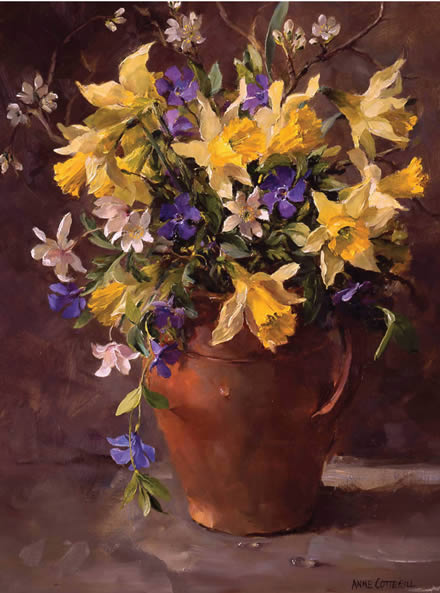 Wild Daffodils and Periwinkles - Birthday Card by Anne Cotterill