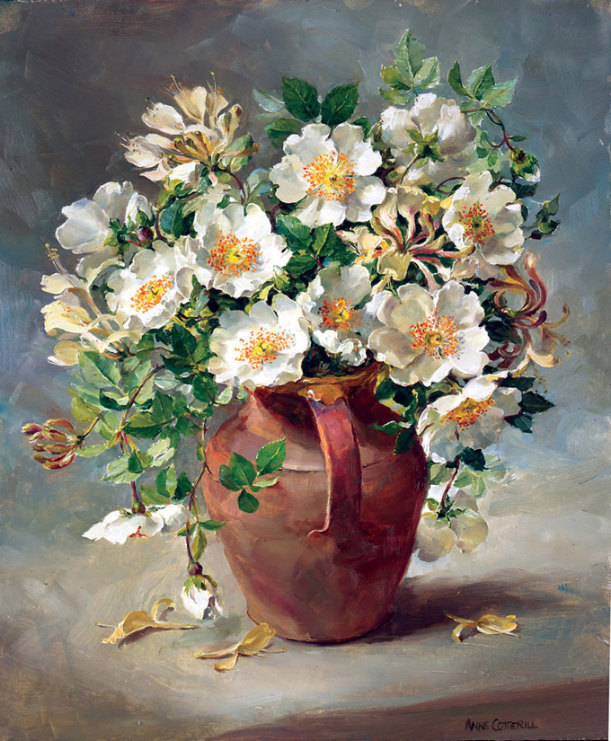 Wild White Roses and Honeysuckle. OE-007 by Anne Cotterill
