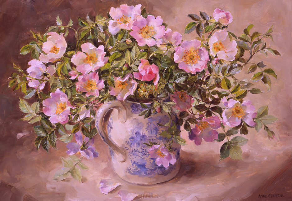 Briar Roses. Giclée Print on Canvas LCP-019 by Anne Cotterill