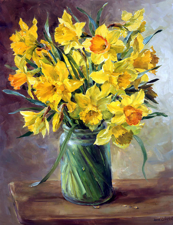 Daffodils. Giclée Print on Canvas LCP-021 by Anne Cotterill