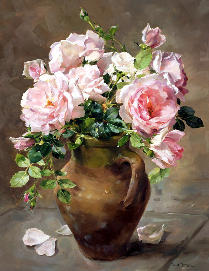 Pink Roses. Giclée Print on Canvas LCP-014. By Anne Cotterill