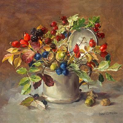 Autumn Berries - flower greetings card by Anne Cotterill