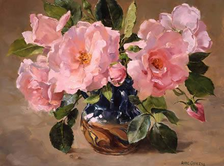 New Dawn Roses - Birthday Card by Anne Cotterill