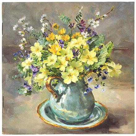 Anne Cotterill Flower Art - Notebook with Primroses in a Turquoise Jug on cover.