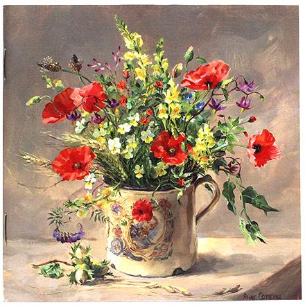 Anne Cotterill Flower Art Notebook - cover with Poppies and other summer wild flowers in a Royal Mug