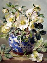White Hellebores in a Chinese Vase - Christmas Card by Anne Cotterill