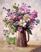 Japanese Anemones in a Silver Jug - Blank Card by Anne Cotterill