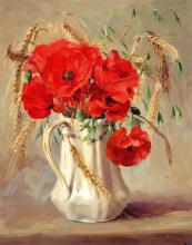 Poppies in a White Jug - card by Anne Cotterill