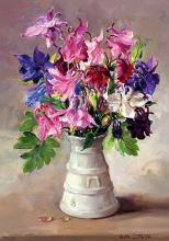 Columbines blank greetings card by Anne Cotterill