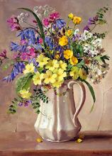 Spring Flowers in the White Jug greetings card by Anne Cotterill
