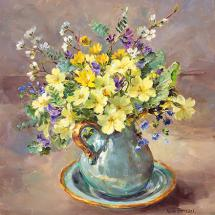 Primroses in a Turquoise Jug greetings card by Anne Cotterill