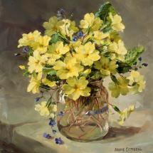 Primroses in a Glass Jar - greeting card by Anne Cotterill