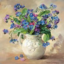 Forget-me-nots - Blank Greetings Card by anne Cotterill Flower Art