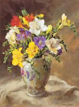 Freesias in a Chinese Vase Blank Card by Anne Cotterill