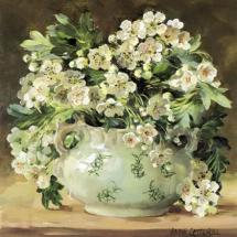 Hawthorn Blossom blank card by Anne Cotterill Flower Art