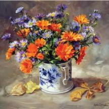 Marigolds with Asters blank card by Anne Cotterill Flower Art