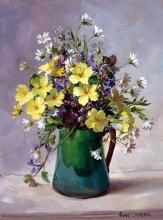 Primroses and Stitchwort in a Green Jug - Blank/Birthday Card by Anne Cotterill Flower Art