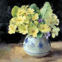 Primroses with Violet - Birthday Card by Anne Cotterill Flower Art