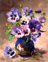 Pansies in Torquay Pottery greetings card by Anne Cotterill Flower Art