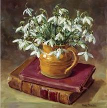 Snowdrops with Books birthday card by Anne Cotterill Flower Art