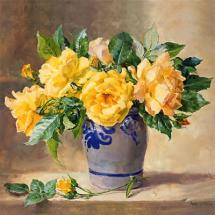 Yellow Roses and Buds - Flower card by Anne Cotterill