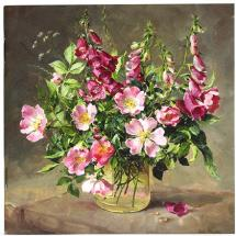 Notebook Foxgloves and Wild Roses by Anne Cotterill Flower Art