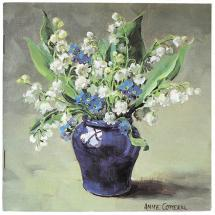 Notebook with Anne Cotterill's reproduction Flower Art - Lily of the Valley and Forget me Knots